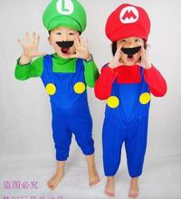 Children Funy Cosplay Costume Super Mario Luigi Brothers Plumber Fancy Dress Up Party Costume Cute Kids Costume E18
