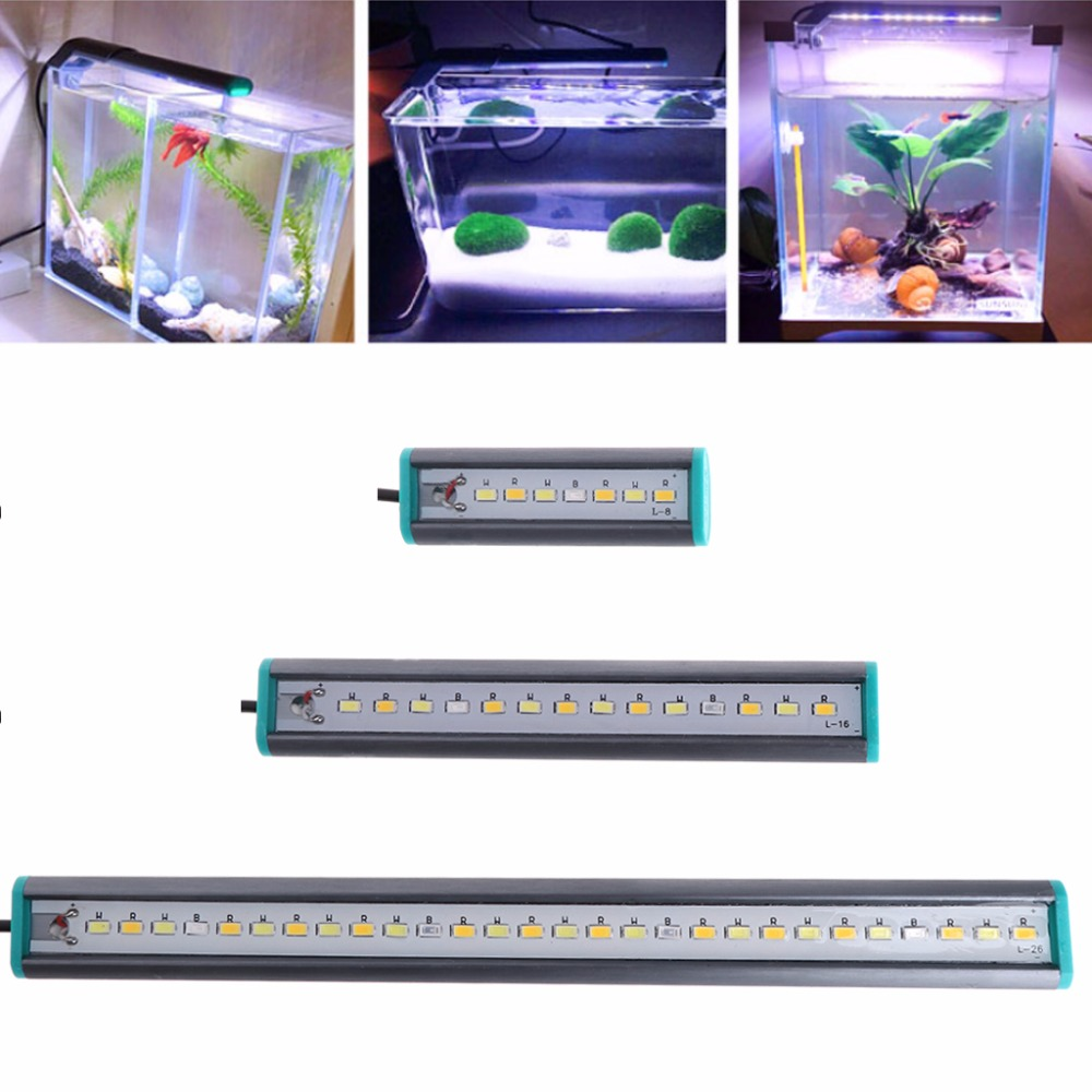 8/16/26cm Aquarium LED Light Aluminum Alloy Mini Lamp Waterproof For Turtle Case Fish Tank Aquarium Light C42