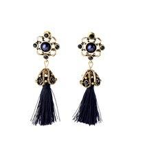 Studs Earrings Women Dark Blue Stone Faux Pearl Vintage Brass Flower Strings Tassel Drop Ear Stud Lady Earring Dangle Jewelry