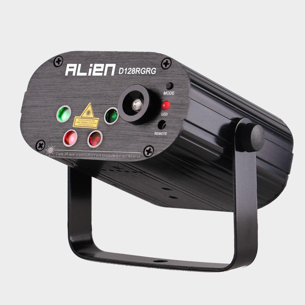 ALIEN remoto doble rojo verde 128 patrones etapa Proyector láser efecto de Iluminación DJ Disco Party Club Bar Luz de Navidad con LED azul - 2