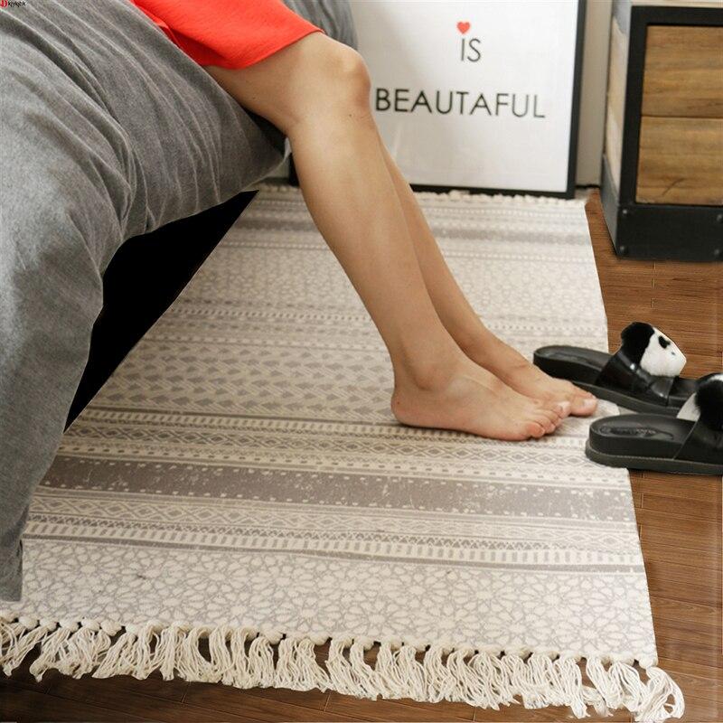 100% coton tricoté à la main tissé petits tapis doux confortable Plaid rayé glands tapis lavable à la Machine Durable tapis pour chambre/cuisine