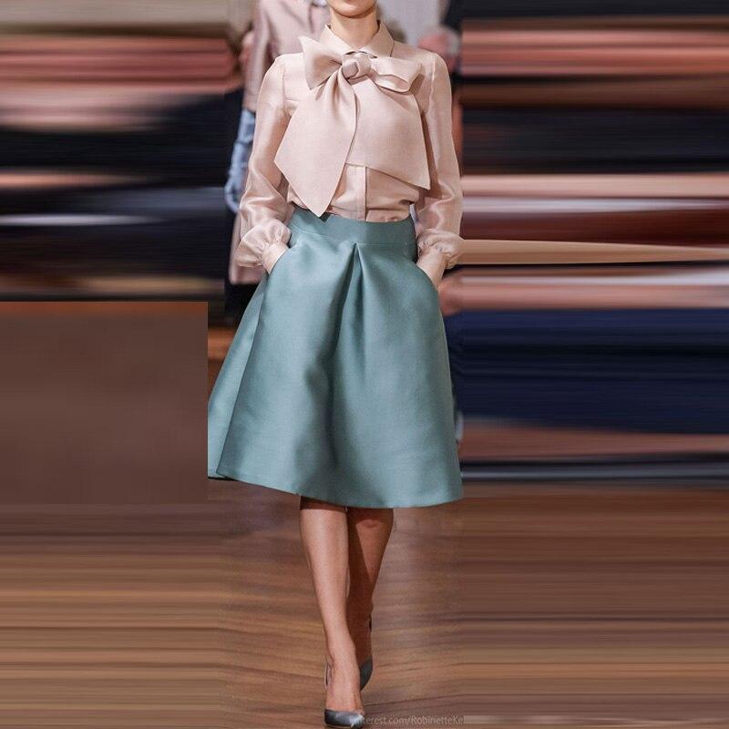 2ffcac05810d Elegante Kurz Satin Röcke Damen Zipper Taille Knielangen Midi Rock ...