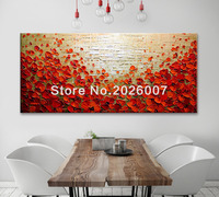 Handmade ORIGINAL Abstract Oil Flowers Painting Poppy Field Palette Knife Textured Art Wall Decor