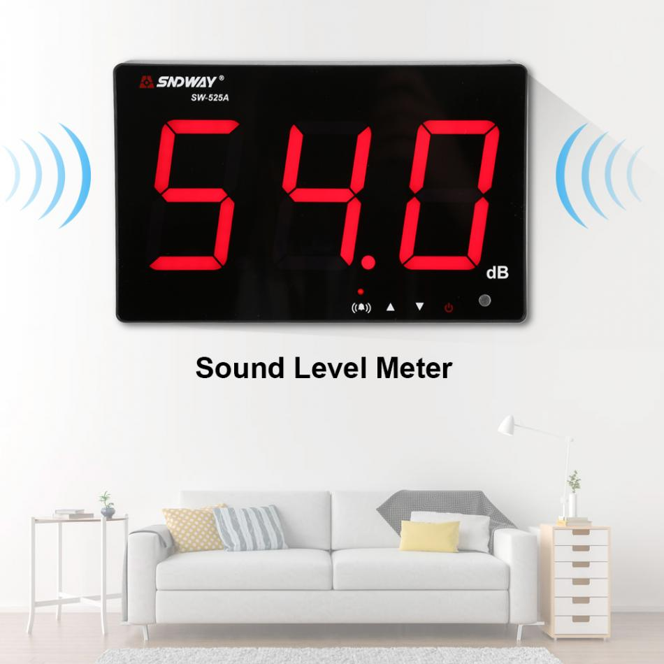 SNDWAY SW-525A LCD Digital Sound level Meter 30~130db 9.6Inch Display Wall Hanging Noise Tester Indoor Noise Decibel Meter nktech ut353bt sound level meter digital bluetooth noise meter tester 30 130db decibel monitoring sound level meters