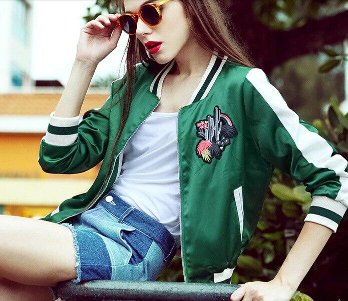Fashion Bomber   jacket   Cactus Coats Embroidery Flower Bomber Coats Fashion Women Baseball Souvenir   Basic     Jackets