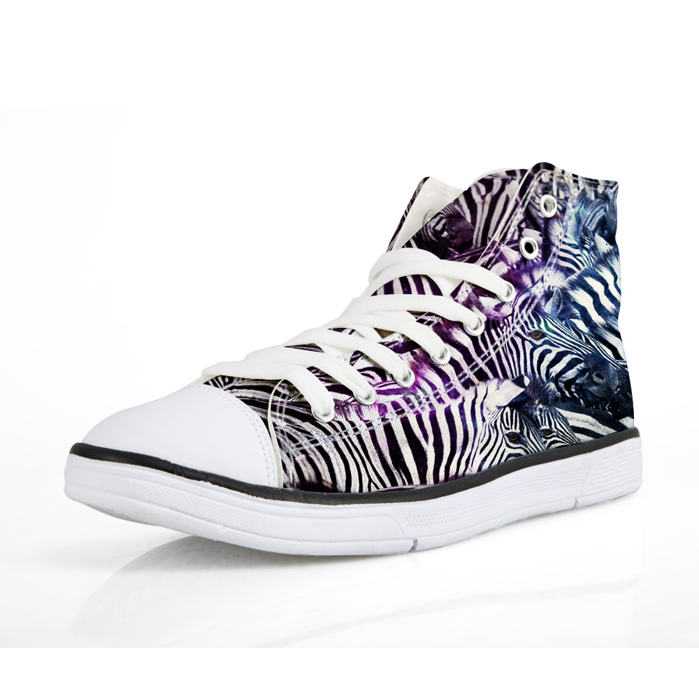 WHEREISART High Quality Vulcanized Shoes Men Zebra Printing Shose For Men Animals Pattern Flats High top Sneasker Studnets Boys in Men 39 s Vulcanize Shoes from Shoes