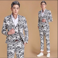 M 3XL New Men Fashion High grade Printing Suit Groom Wedding Dress Suits Host Party Clothing Nightclub Singer Stage Costumes
