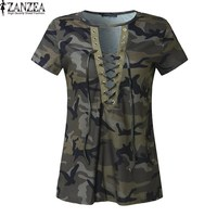 2017 ZANZEA Women Summer Short Sleeve Tops T Shirt Choker V Neck Lace Up Bandage Camouflage