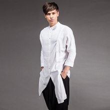 2017 men's clothing summer double breasted asymmetrical long shirt design three quarter sleeveFlax singer's clothing