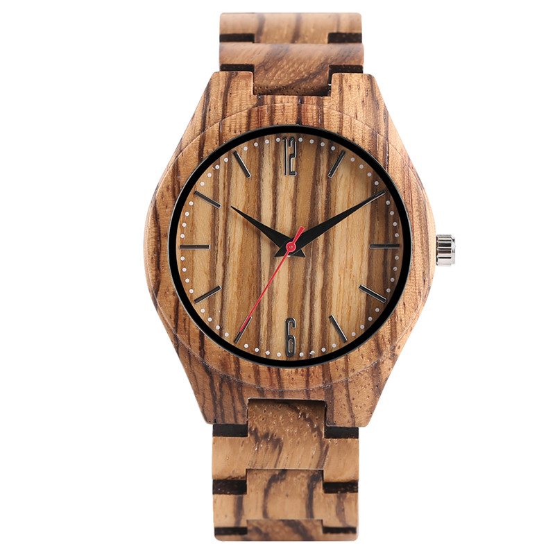 Stylish Full Zebra Wood Watch Light-weight Bamboo Band Casual Men Women Wooden Quartz Wristwatch Gifts Clock relogio masculino simple brown bamboo full wooden adjustable band strap analog wrist watch bangle minimalist new arrival hot women men nature wood