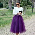 Modest Spring And Sutumn Style Zipper Style Purple Tulle Skirts Mid Calf Skirt For Lady (Leave Waist Size Below Order )