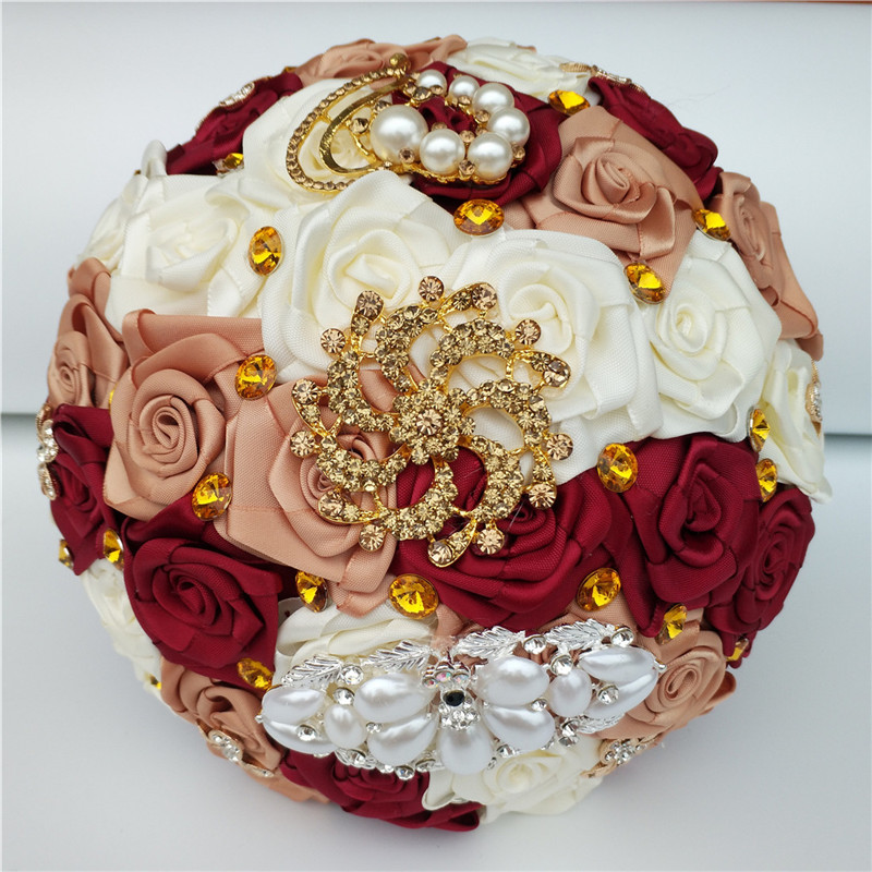 Custom Colors Artificial Rose Fowers Wedding Bouquet Bridal Hand Holding Diamond Brooch Bouquet Flowers ramos de novia W1291
