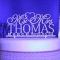 Персонализированные Свадебный Торт Toppers, пользовательское имя дата Господин Госпожа Акриловые золото серебро блеск Свадебные Украшение Партии торт Аксессуар