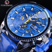 Forsining Cool Automatic Watch Men's Blue Luxury Steel 3 Sub Dial Analog Date Day Polish Leather Strap Clock Mechanical Watches forsining 2016 fashion brand luxury leather strap dress automatic mechanical self wind men analog watch auto date for man watch
