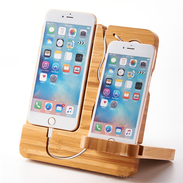 For Apple Watch Stand/iPhone Stand,Bamboo Charging Stand Dock Station Holder for Apple Watch iPhone 5/5S/6/6S Plus iPad Galaxy