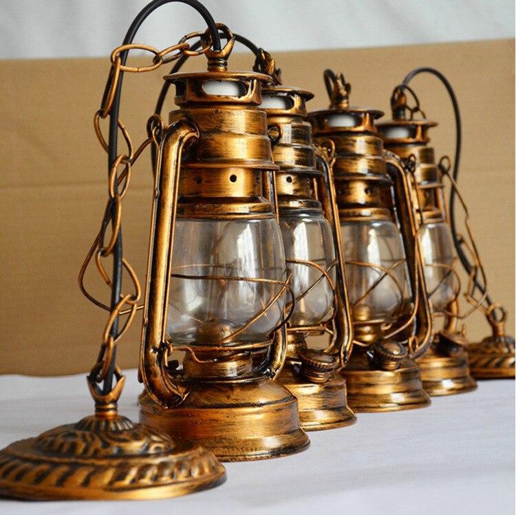 Europe Retro Classic Kerosene Antique Bronze Color Lantern Emergency Lamp  Outdoor Camping Lamp Paraffin Lamp E27