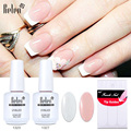 Belen UV Gel Nail Polish Set Pink White Color Coat Free Tip Guides Gel Polish French Manicure Kit Sets UV Led Lamp Dry