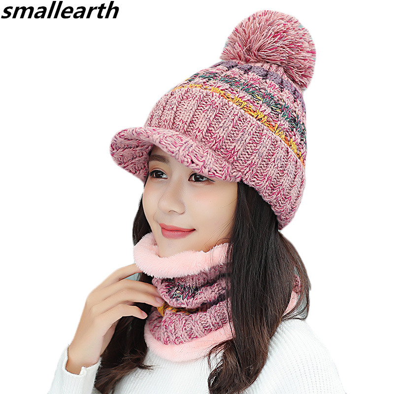 ba88cd8ec6a3f Women Winter Hat Fur Pompom Hat Scarf Set Warm Plus Velvet Knitted Hats  Scarf For Girls