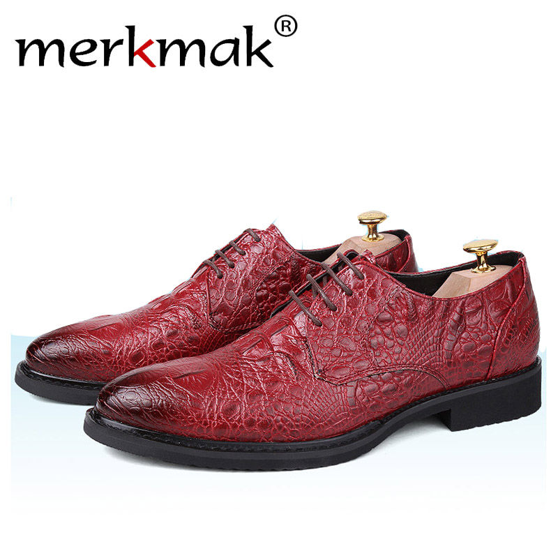 Merkmak Brand Oxford Shoes For Men Fashion Business Crocodile Shoes High Quality Dress Wedding Ankle Shoes Man Flats Footwear hot sale italian style men s flats shoes luxury brand business dress crocodile embossed genuine leather wedding oxford shoes