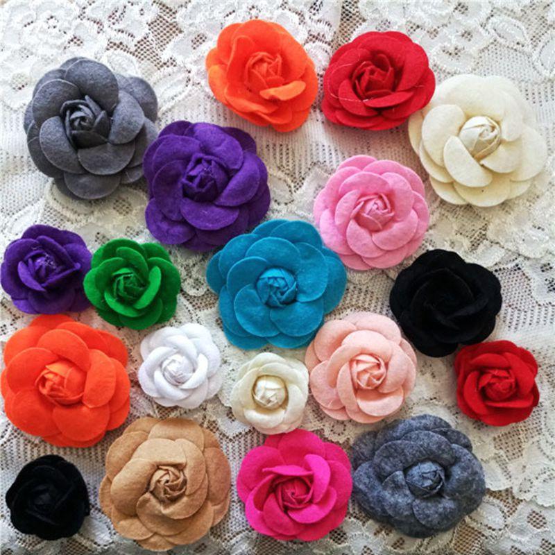10pcs/lot 3-6cm Random Colors Rose Head Handmade Felt Camellia Flower DIY Jewelry Garments Accessories Wedding Party Home Decors