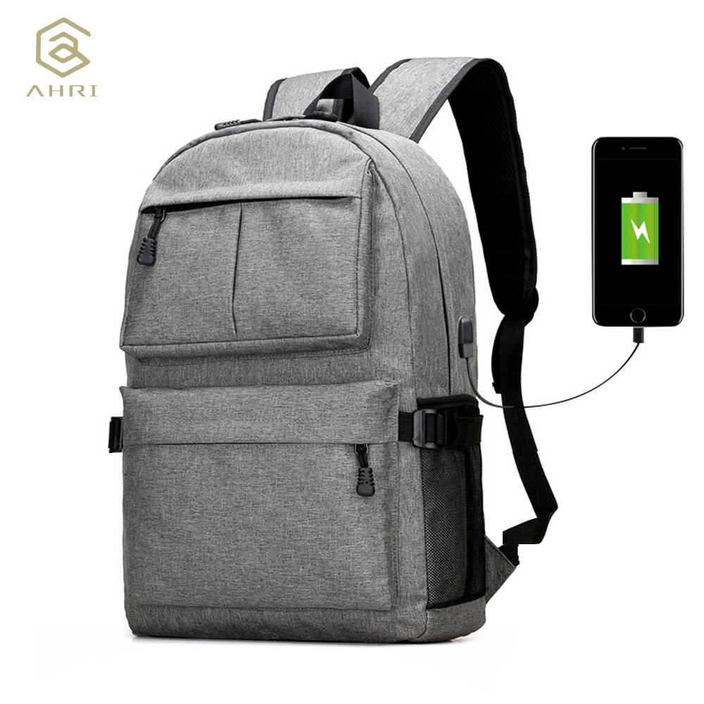 f60fdb9c6a90 AHRI USB унисекс дизайн рюкзак сумки для книг для школы рюкзак повседневный  рюкзак Оксфорд холст ноутбук