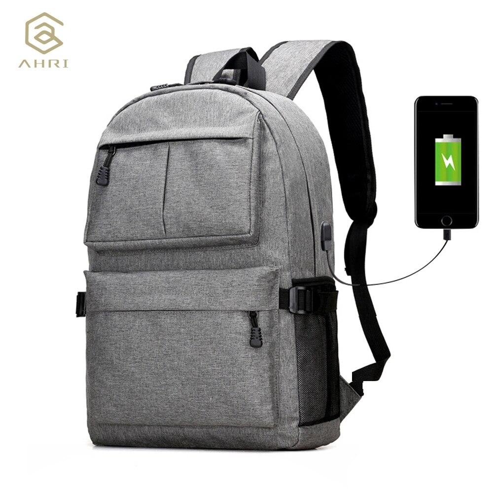 AHRI USB Unisex diseño mochila bolsas de libro para mochila escolar mochila Casual mochila Oxford lona portátil Moda hombre mochilas
