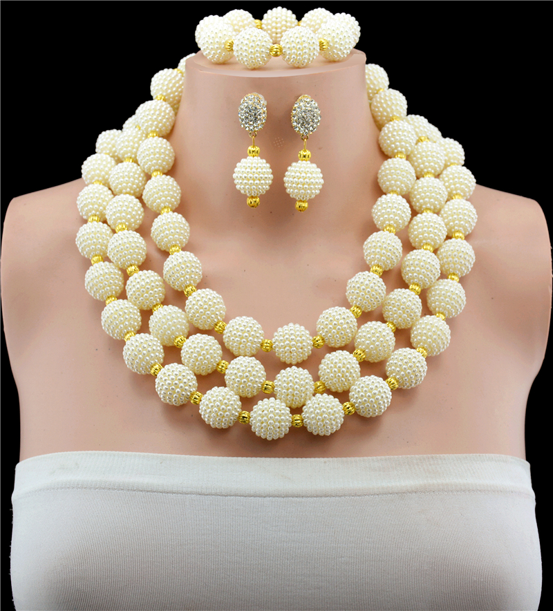 2017 New Nigerian Wedding Jewelry Sets Indian Bride Accessories Gold-color White Choker Necklace African Beads Jewelry Sets red color african beads jewelry sets two layer beads indian jewelry sets luxury statement choker necklace fashion jewellery