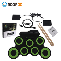 ADDFOO Portable Digital Electronic Drum 7 Pads Roll up Drum Set Silicone USB Electric Drum Pad Kit With DrumSticks Free shipping