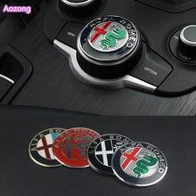 1pcs Interior Do Carro Multimedia Botão Da Engrenagem Tampa Decoração Anel adesivo Para Alfa Romeo Giulia Stelvio 2017 Car styling acessório