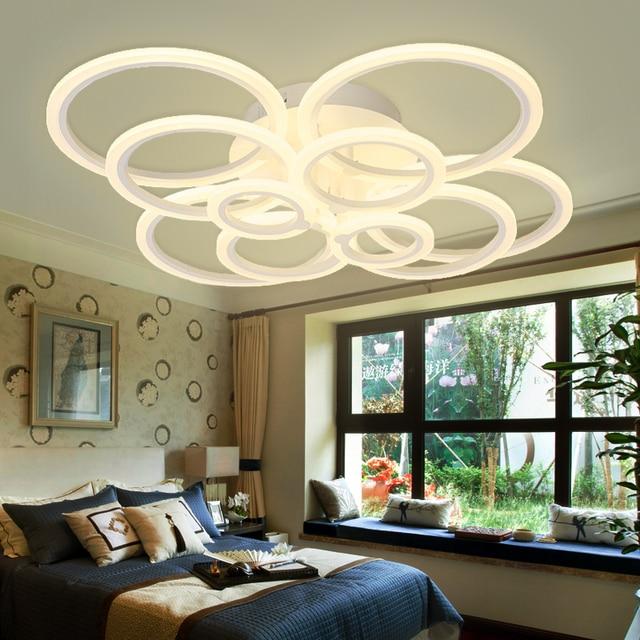 New White Rings Circle Acrylic Modern Led Chandeliers For Living Room Bedroom Home Led Chandelier Lighting Fixtures AC110V 220V