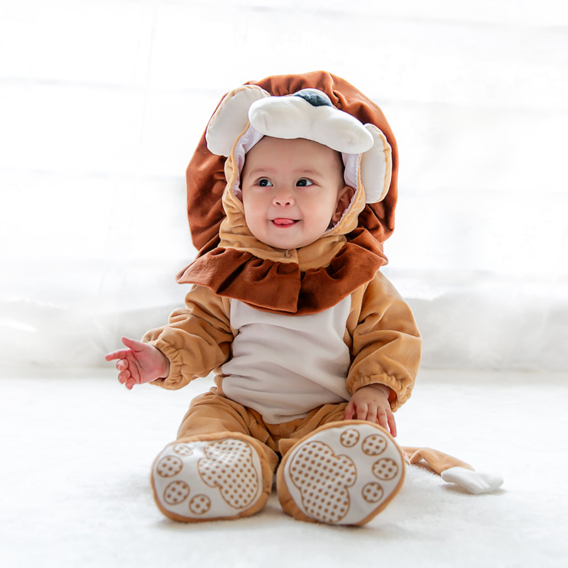mikistory Fashion Baby Lion Costumes Long Sleeves Infant Cosplay Clothes Cotton Cute Cartoon Rompers Hooded Boys Girls Jumpsuits yierying baby clothing autumn and winter baby rompers long sleeves cotton hooded infant clothes cartoon newborn jumpsuits