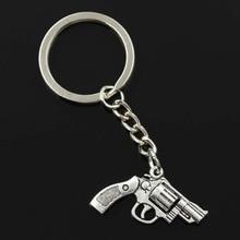 New Fashion Men 30mm Keychain DIY Metal Holder Chain Vintage Pistol Revolver Gun 29x22mm Silver Color Pendant Gift