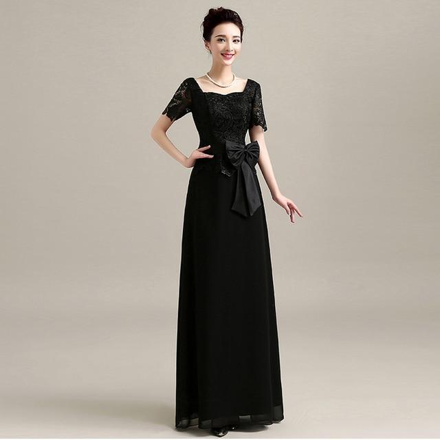 Long Black Bridesmaid Dresses Short Sleeve Simple Formal Elegant