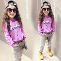 Spring Children Girls Clothing Sets 2017  Letter pattern baby Girl Clothing  Purple sweater+gray pants kids Fashion sports suit