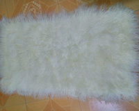 2015 Real Mongolian Lamb Fur Rug Real Fur Throw Genuine Wool 22 X45 Hot Sale