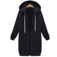 5XL Winter Coats 2017 Fashion Autumn Women Long Hoodies Sweatshirts Coat Casual Pockets Zipper Outerwear Hooded Jacket Plus Size
