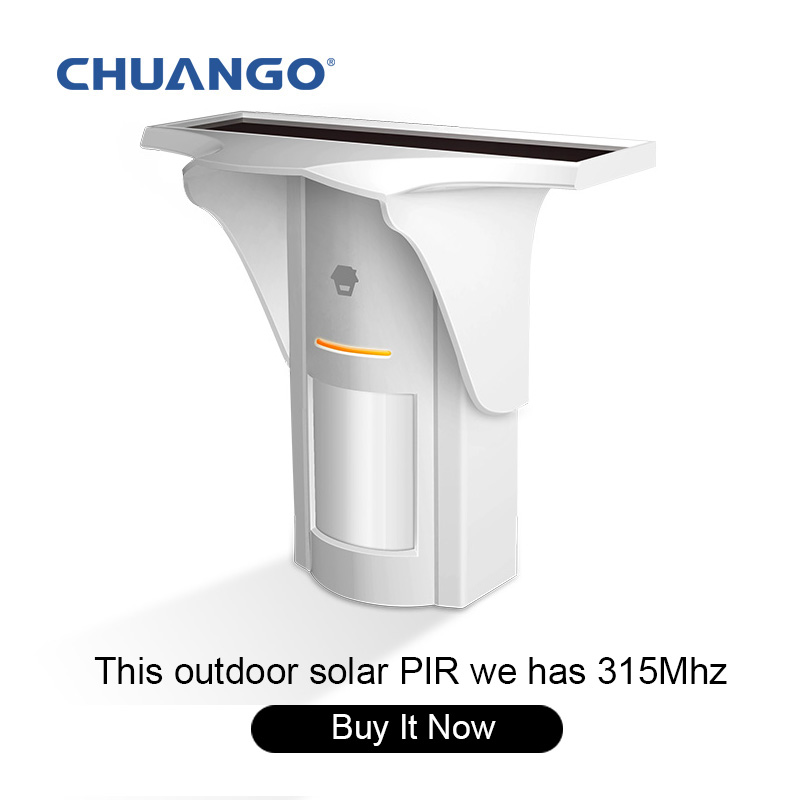 Chuangkesafe CHUANGO Solar-Powered Dual-Tech Motion Detector 315MHz For B11 G5 A11 Alarm system