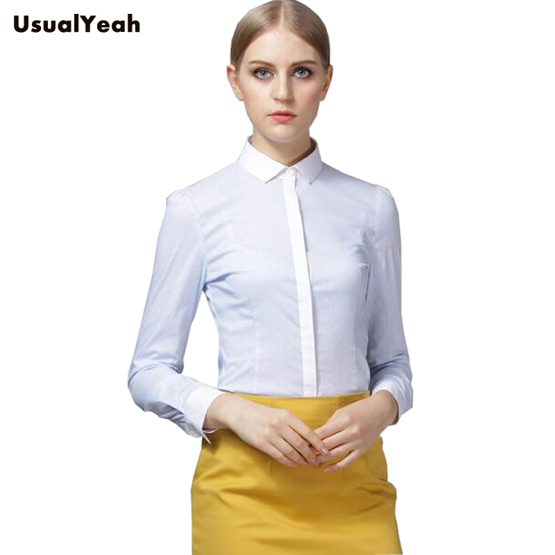 New  Women Body Shirt Blouse Slim Fit Striped Turn-down Collar Formal Long Sleeve Office Blouses For Work Wear SY0285 S-XXL