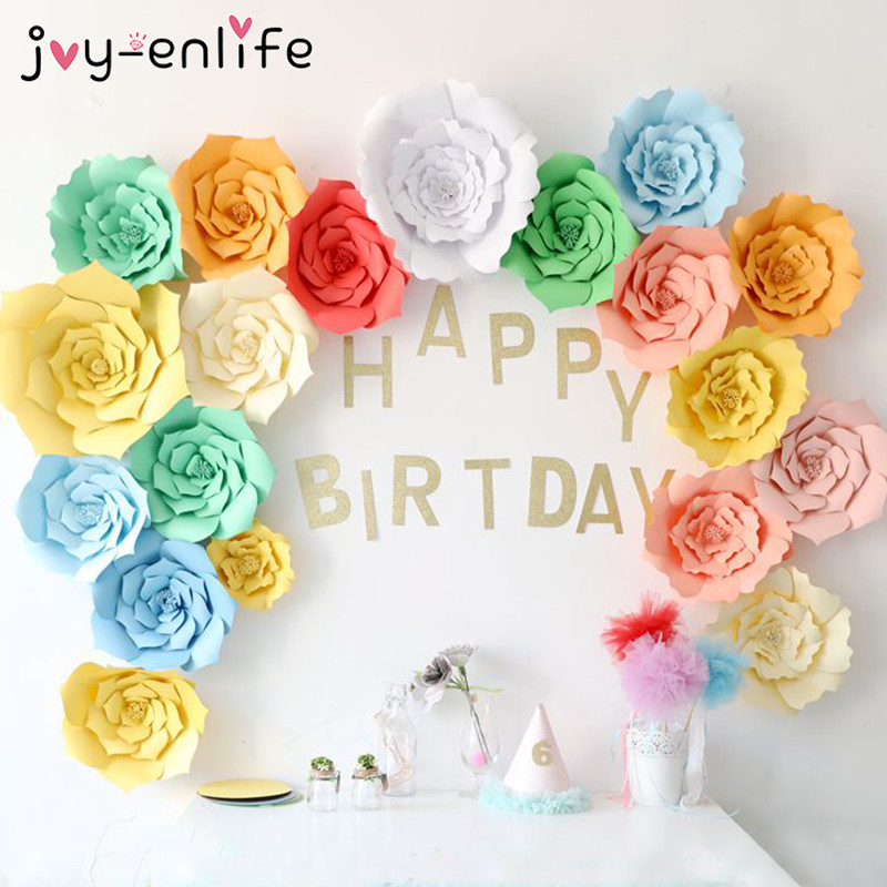 JOY-ENLIFE 2pcs 20cm DIY Paper Flowers Backdrop Decor Hen Party Kids Birthday Party Wedding Party Home Room Decor Supplies