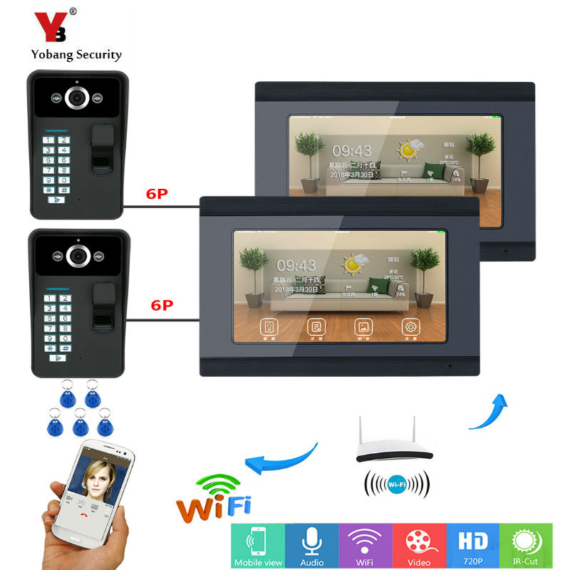 Yobang Security 2*7inch Wired/Wireless Wifi Fingerprint RFID Password Video Door Phone Doorbell Intercom Entry System with 2 Cam