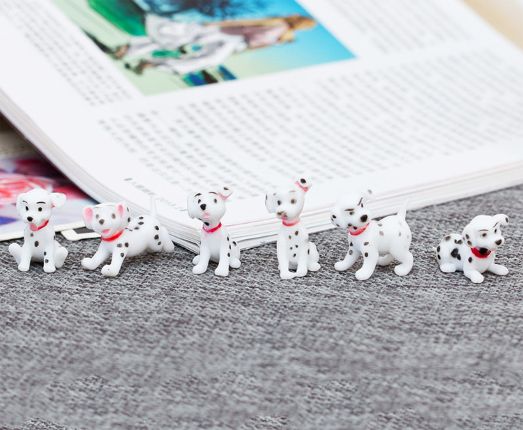 6 Pcs/set cute cartoon Spotty dog action figure toys lovely mini decoration PVC animal dogs model toys long cable winder cute cartoon animal headphone earphone organizer wire holder action toy figures set