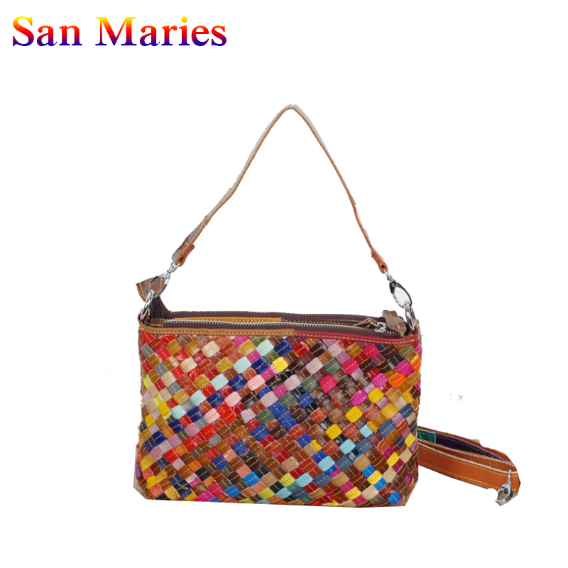 San Maries 2019 Genuine Leather Women's Woven Shoulder Bags Totes Ladies Crossbody Bag Famous brand Designer Female Messenger Ba