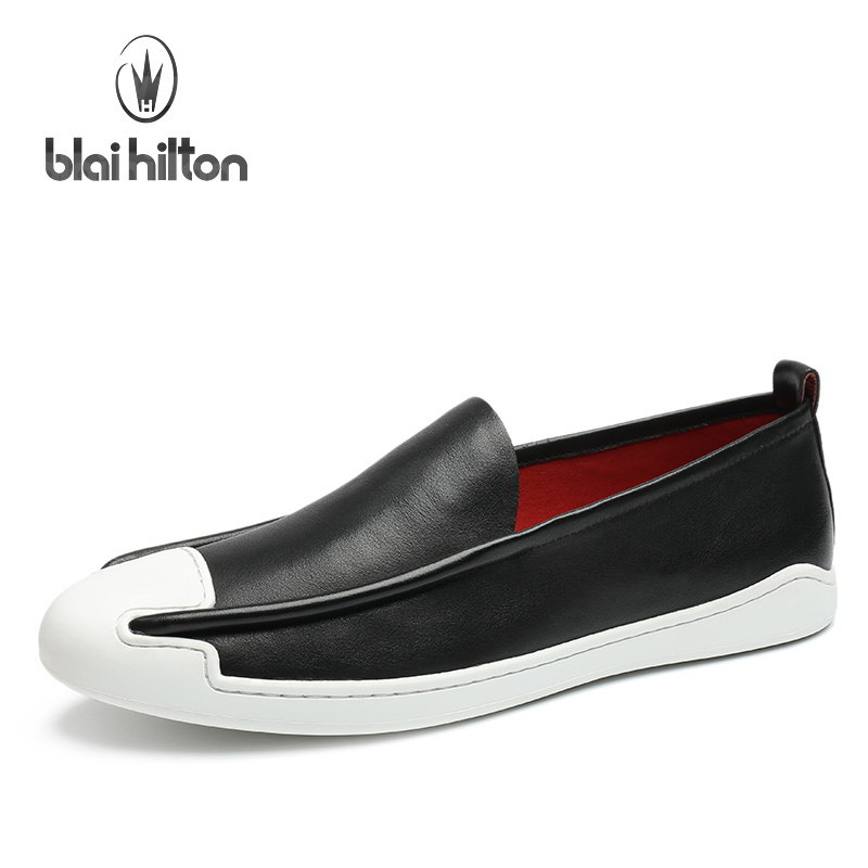 Blai Hilton 2017 New Fashion Spring/Autumn men shoes Genuine Leather shoes Slip-On Breathable/Comfortable Men's Casual Shoes chilenxas 2017 new spring autumn soft leather breathable comfortable shoes flats men casual fashion solid slip on handmade