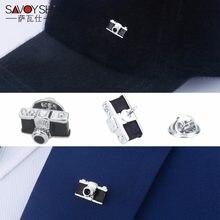 Savoyshi vintage forma da câmera dos homens alfinetes de lapela pinos presente fino para os homens moda broches colar festa noivado jóias