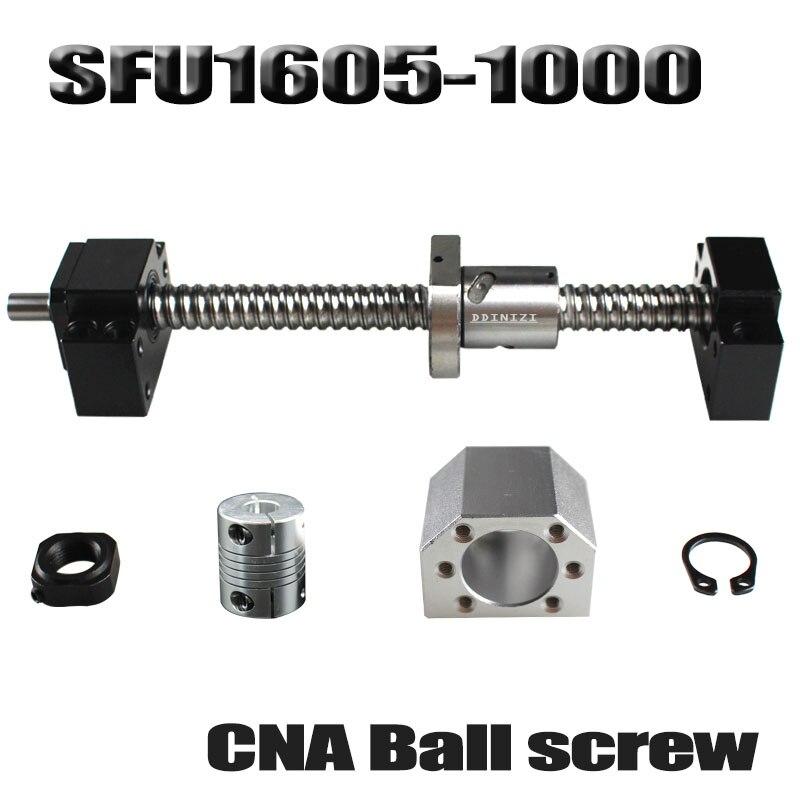 Vis à billes 1000mm SFU1605 vis à billes roulées C7 avec extrémité usinée + 1605 écrou à billes + boîtier d'écrou + support d'extrémité BK/BF12 + coupleur RM1605