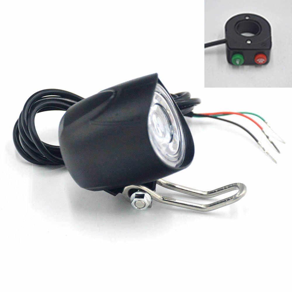 Bicycle LED Light 36V 48V 60V Bike Horn Waterproof Flashlight with Horn for Electric Bike Headlight Front Light Waterproof