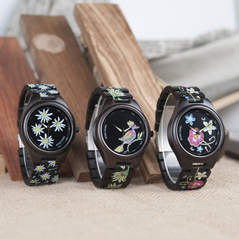 Reloj unisex madera impresión imitación bordado 1