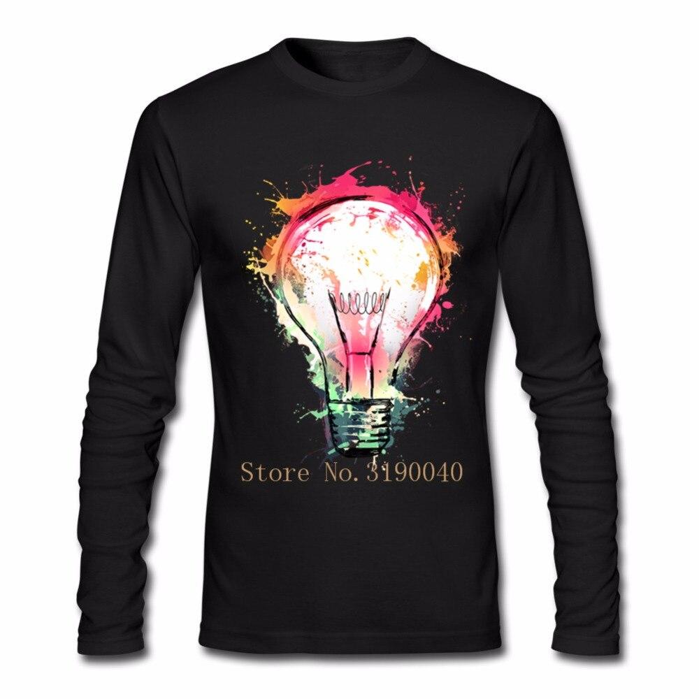 Design t shirt idea - Custom Splash Ideas Design New Color Bulb T Shirt Men Low Price Men S O Neck Print Long Sleeve Cotton Hombre Primer T Shirts