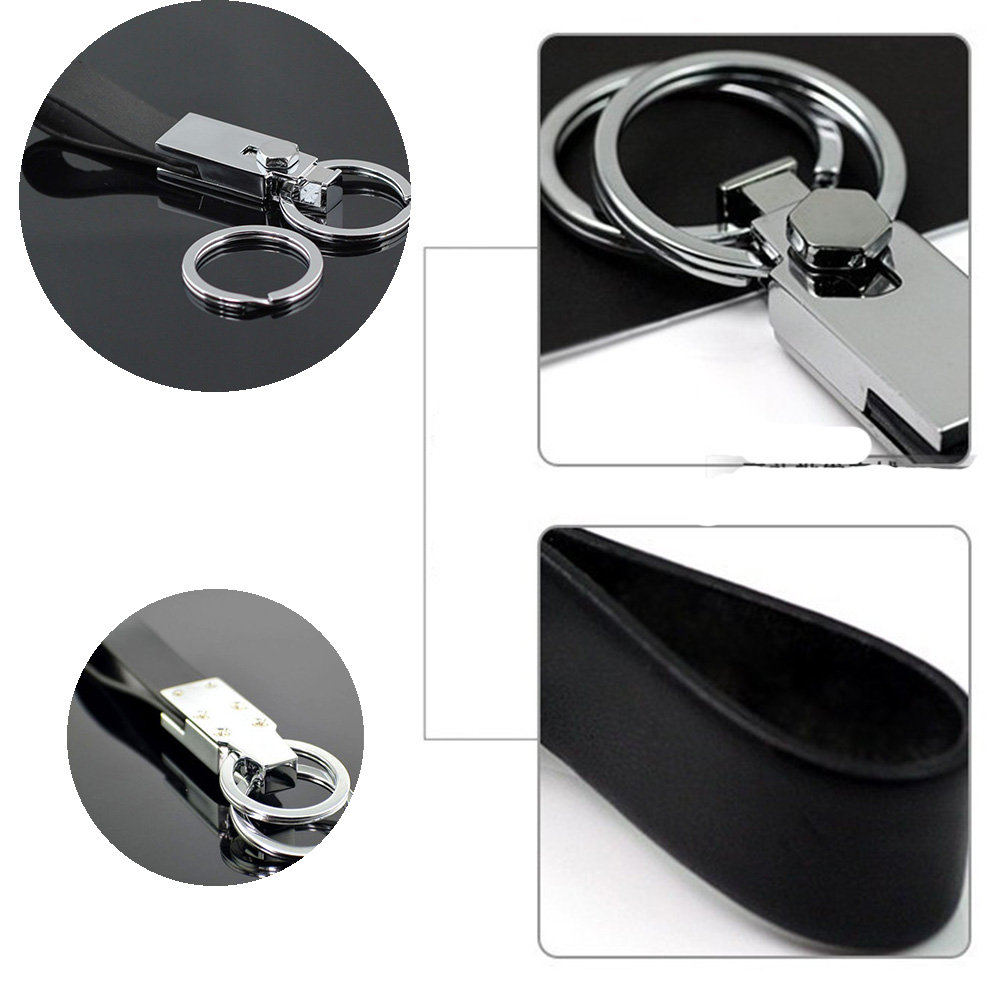 Hot Sale 1pc Leather Double Loops Metal Black Leather Strap Key Chain New Style Through Waist Belt Keyring For Gift