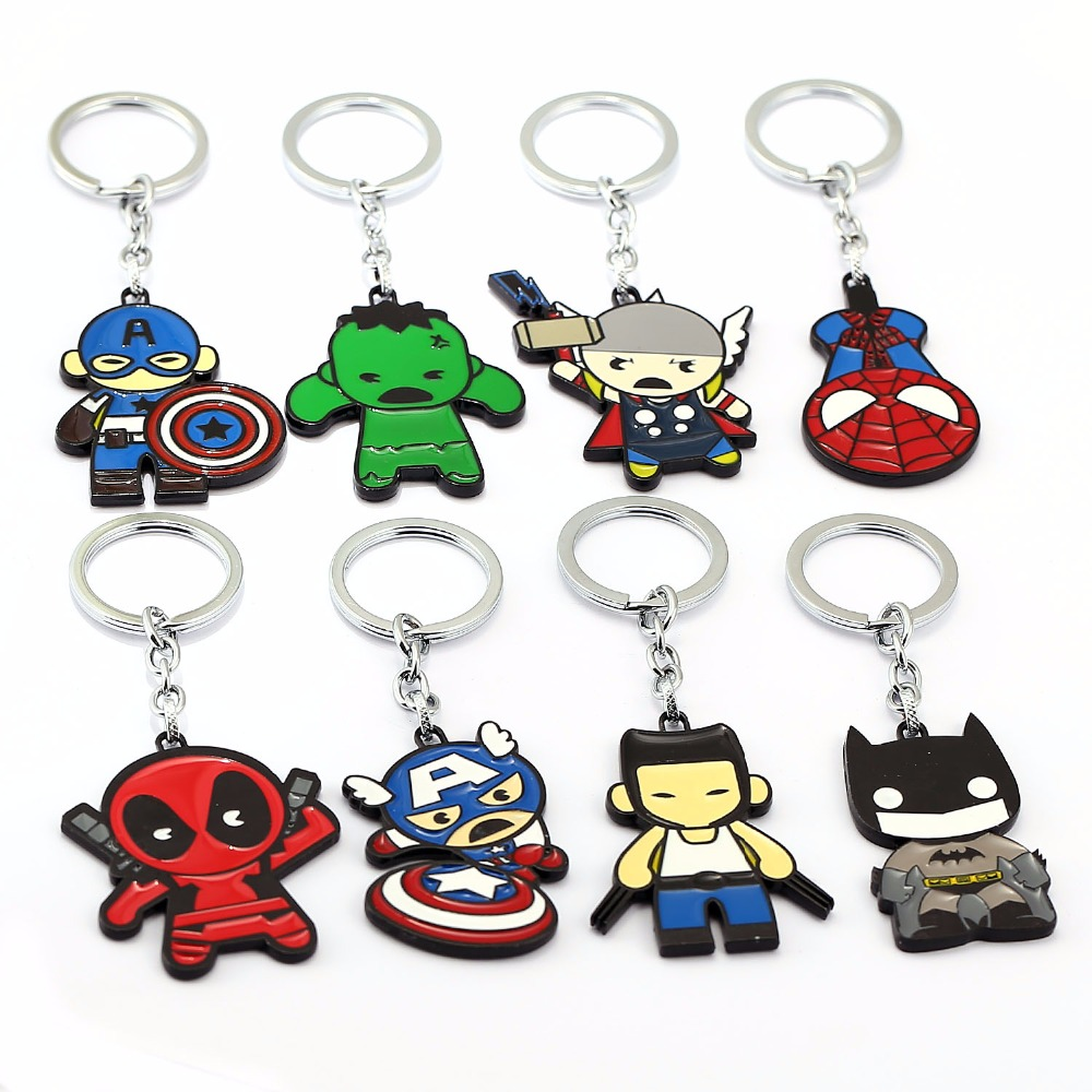 Avengers Keychain Thor Captain America Hulk SpiderMan Deadpool Batman Key Ring Holder Chaveiro Car Key Chain boys children s clothing muscle super hero captain america costume spiderman batman hulk avengers new cosplay children pajamas